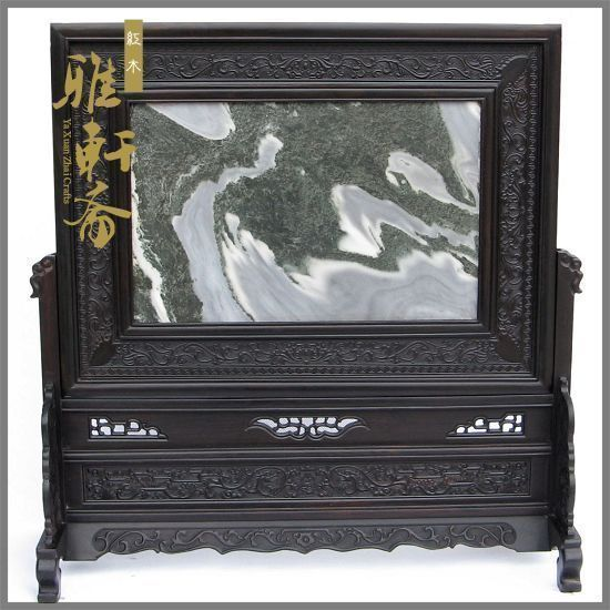 [TZ] Zhai mahogany crafts ebony inlay marble landscape plaque mahogany table screen Home Furnishing ornaments