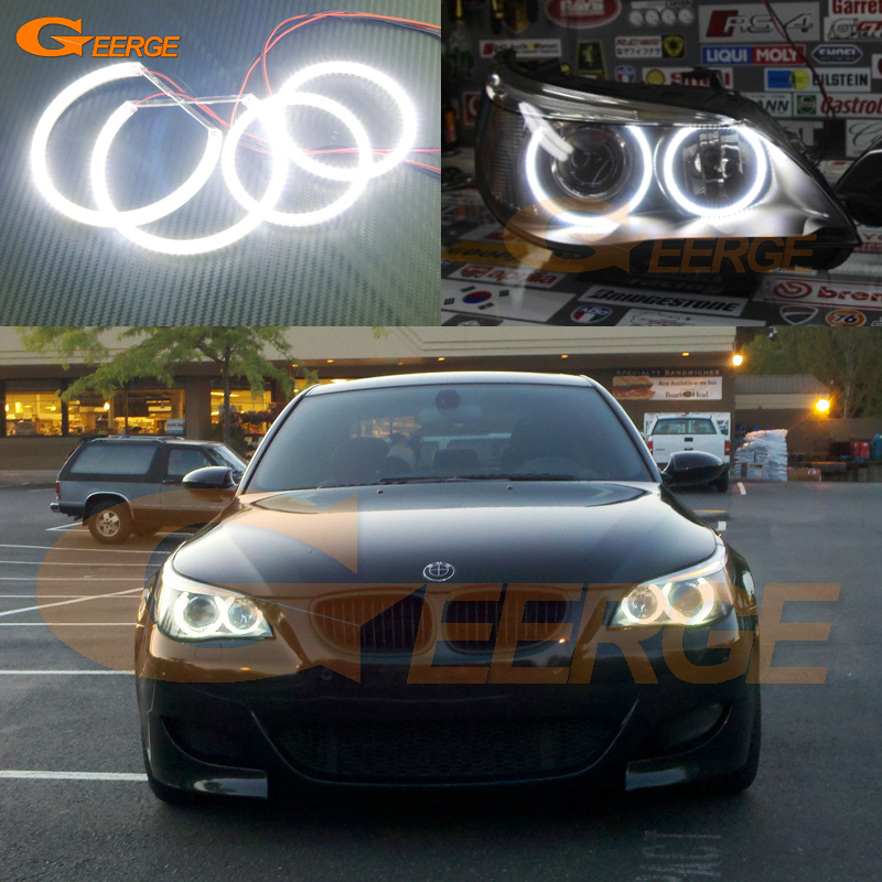 For BMW E60 E61 525I 530I 540I 545I 550I M5 2003-2007 Xenon Headlight Excellent DRL Ultra bright smd led angel eyes kit for bmw 5 series e60 m5 e61 car front headlamp housing clear lens shell cover for bmw 525i 530i 528i 535i 540i 550i 545i n001