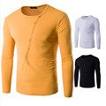 2016 New 100% Cotton Oblique Button Collar T Shirt Fashion Men Long Sleeve Orange/White T Shirts Slim fit T-Shirt Solid M-XXL
