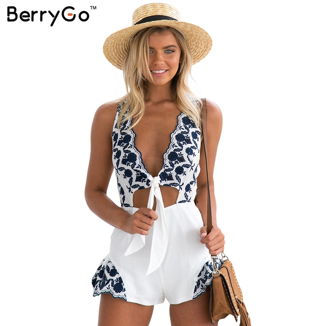 67433f7dced2 BerryGo Elegant floral embroidery jumpsuit romper women Sexy v neck cut out  sleeveless playsuits Summer beach