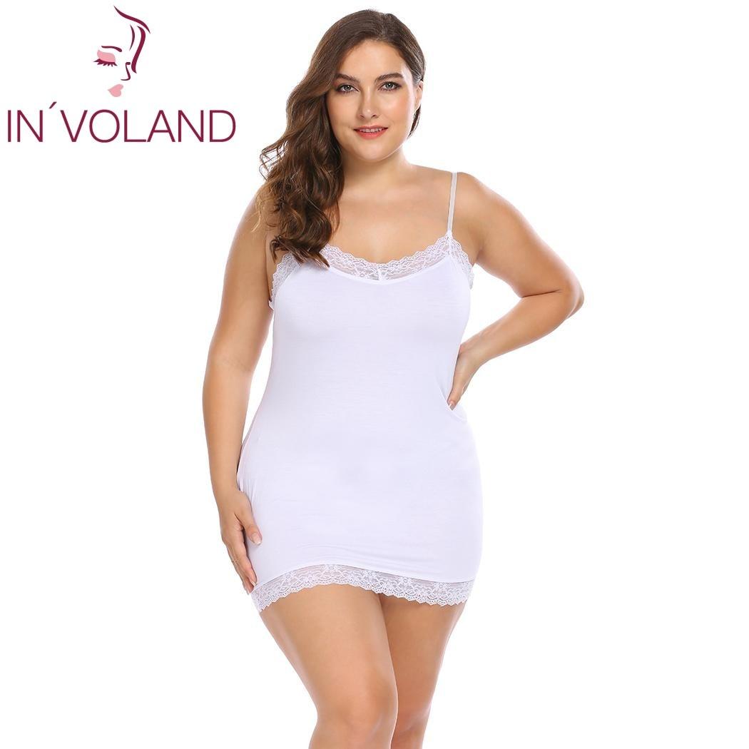 IN'VOLAND Grande Taille Femmes Chemises de Nuit Sleepshirts 4XL Sexy Robe De Nuit Dentelle Patchwork Mince Plein Glisse Lady vêtements de Nuit Plus La Taille