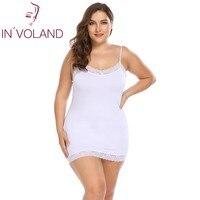 IN'VOLAND Grandes Mulheres do Tamanho 4XL Vestido Sexy Nightwear Nightgowns Sleepshirts Lace Patchwork Magro Deslizamentos Completos Senhora Sleepwear Plus Size