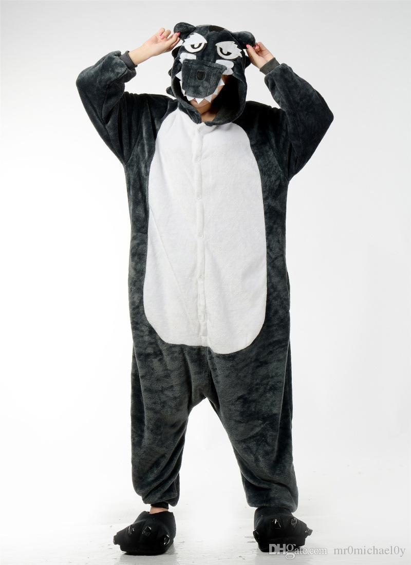 3f92f88886 Lovely Animal Costume Pajamas Onesies Big Bad Wolf For Adult Men And Women  One Piece Onesie Pajamas Sleepwear Jumpsuit-in Men s Costumes from Novelty  ...
