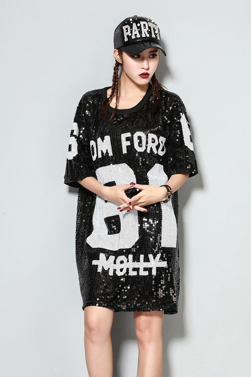 OLOEY 2018 Autumn Spring New Fashion Sequins Loose Causal Plus Size ... 2e6fc9d21024