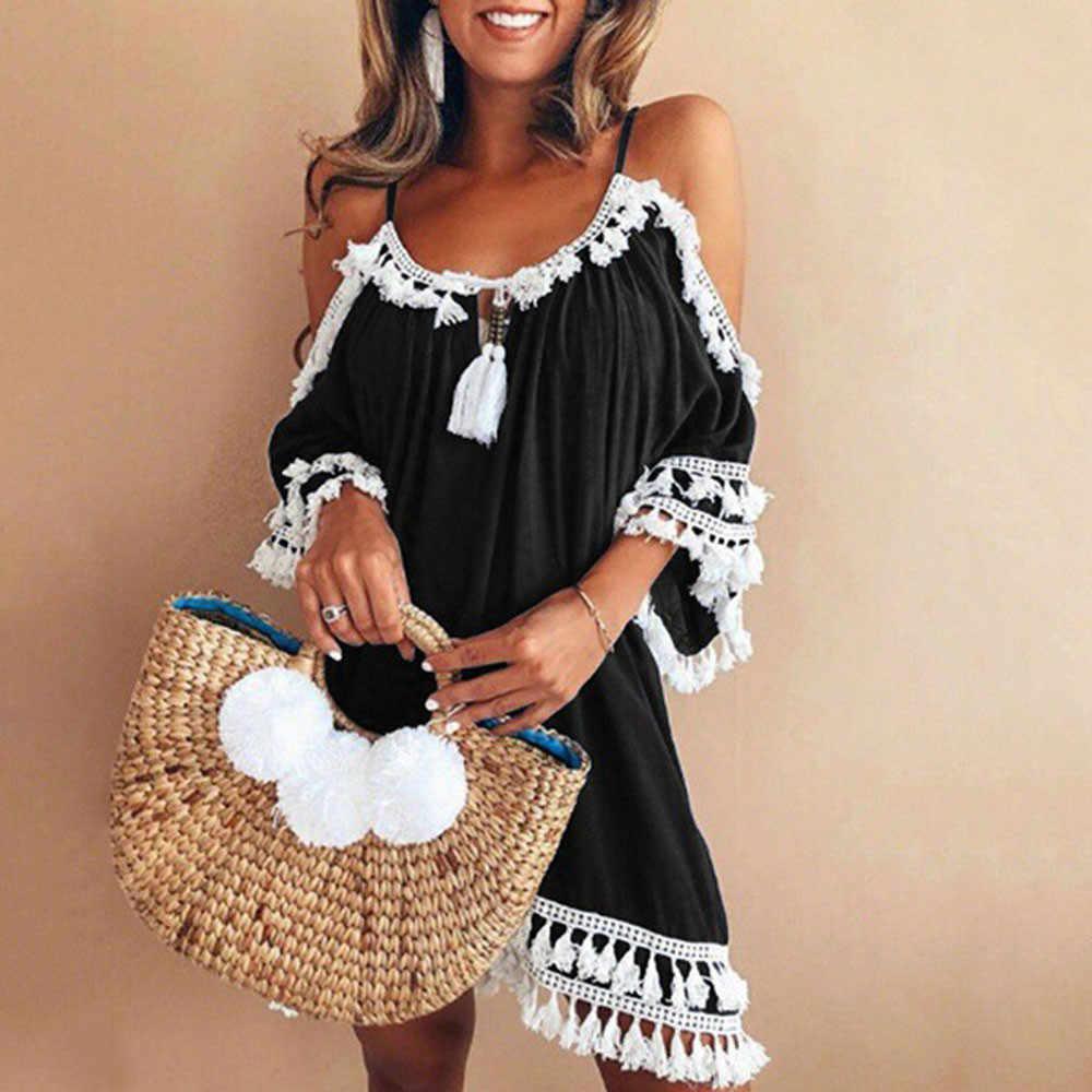 8ac6eaec5f8 Summer 2018 Bohemian Tassel Lace Patchwork Beach Dress Women Casual Halter Off  Shoulder Party Mini Sundress
