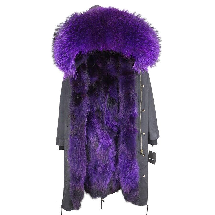 2019 Real Fur Coat Winter Jacket Women Long Parka Waterproof Big Natural Raccoon Fur Collar Hood Thick Warm Real Fox Fur Liner 117