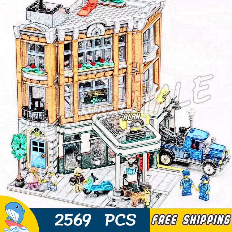 2569 pièces créateur 3-niveau coin Garage rue ville modulaire maison modèle bloc de construction 15042 assembler des jouets compatibles avec LegoING
