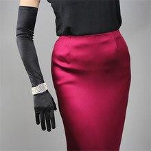 Шелковые атласные перчатки 58 см, эластичные мерсеризованные атласные черные, белые, очень длинные, стильные женские солнцезащитные перчатки с локоть, для невесты, свадьбы WSG05