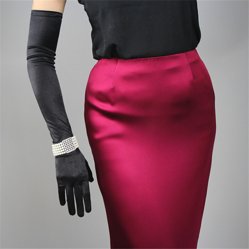 Silk Satin Gloves 58cm Elasticity Mercerized Satin Black White Extra Long Style Over Elbow Female Sunscreen Bride Married WSG05