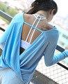 Aptitud camiseta mujeres del envío volver manga larga floja espalda abierta trabajo fuera hueco backless sexy workout casual superior femenina Camiseta T98