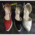 Cunha Coreano Fivela Nubuck Couro Sapatos Da Moda Trepadeiras Mulher Cúspide Leve Oco Lado Hasp Couro Sintético