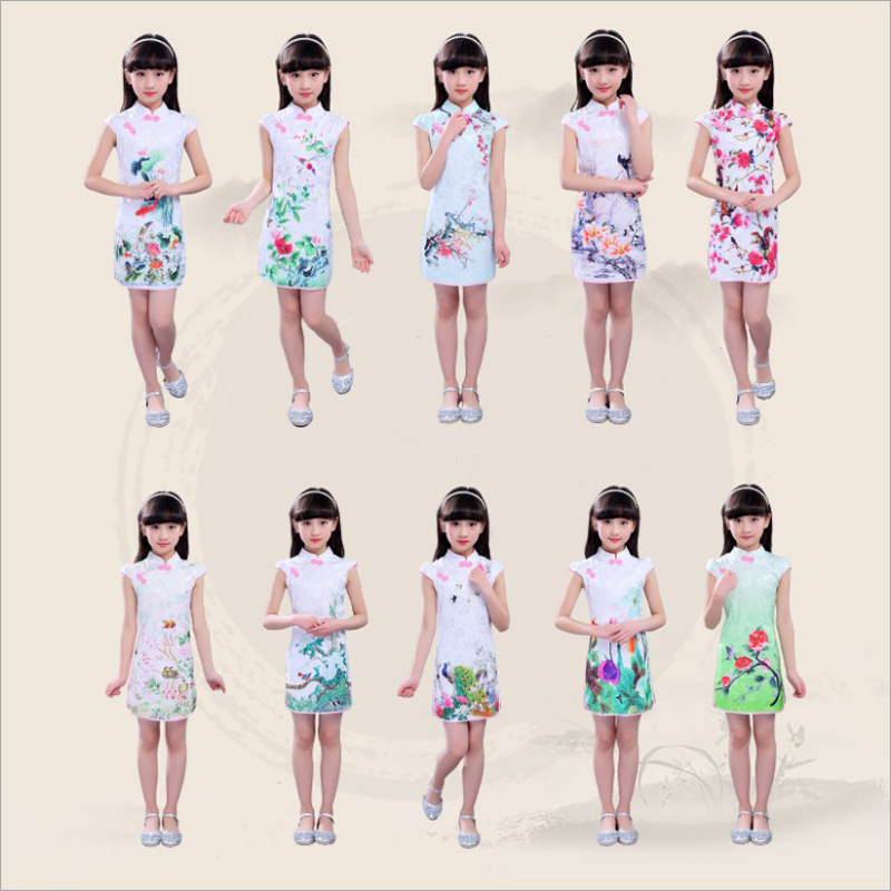 New Arrival Floral Children's Elegant Dresses Girls Chinese Chi-Pao Cheongsam Kids Baby Traditional Chinese Garments
