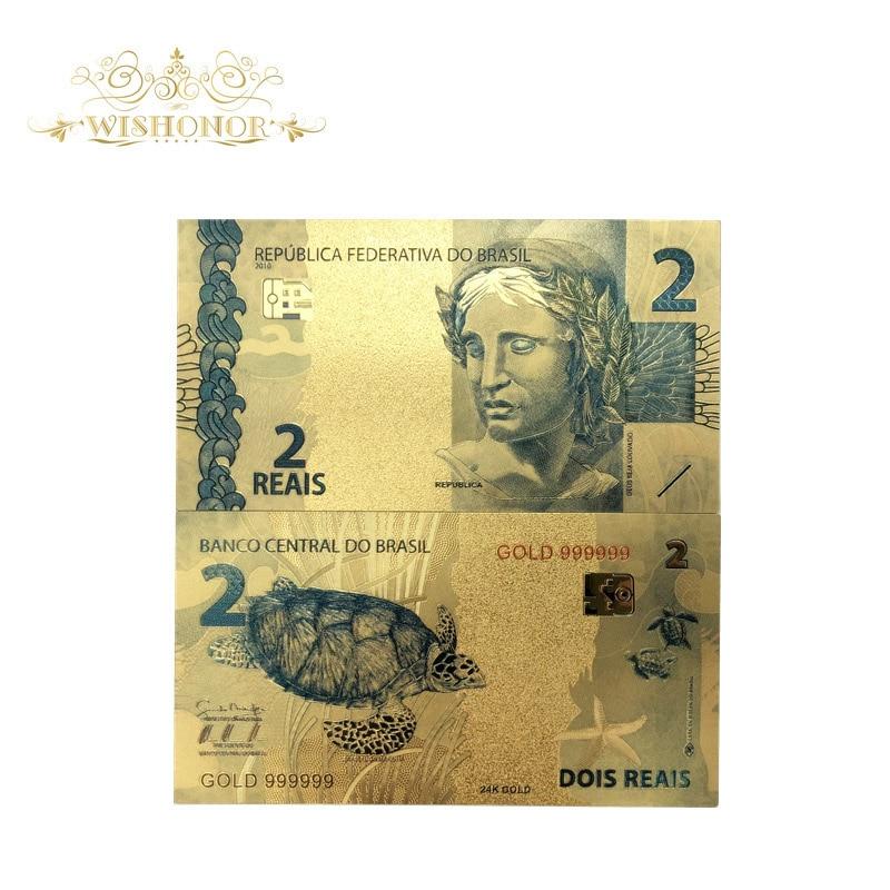 Produtos agradáveis 10 pçs/lote cor brasil notas de ouro 2 reais notas em 24 k ouro chapeado dinheiro de papel para a coleção