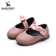 Babyfeet Brand New Baby Girl First Walkers Bowknot Princess Shoes Infant Anti-slip Rubber Soft PU Hook&Loop Newborn Lace-Up Shoe