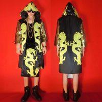 Личность Китайский ветер Dazzle цвет золотой дракон халат хип хоп костюмы комплект бары Ночные клубы певец DJ вечерние Этап одежда