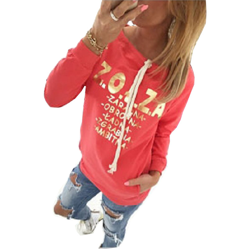 Women Hoodies Sweatshirts Long Sleeve Letter Print Drawstring O-Neck Pullovers Hoodie Clothing Fashion Casual Loose Vestidos