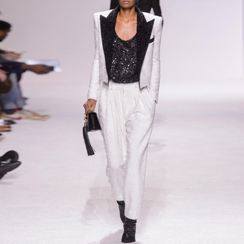 S XXXL Women's Tweed Woolen Coat Short Slim Sequins Big Plus Size Runway White Blazers Women Outerwear Short Blazer Feminino