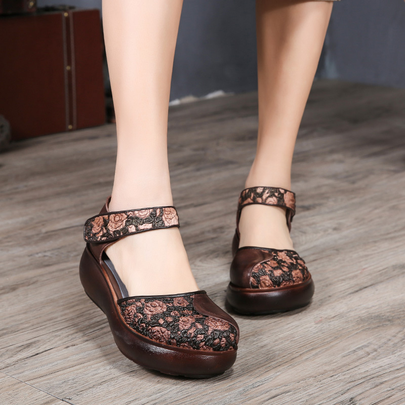 Tyawkiho Genuine Leather Women Sandals Embroidery 6 CM High Heels Sandals Wedge Summer Shoes Retro Handmade