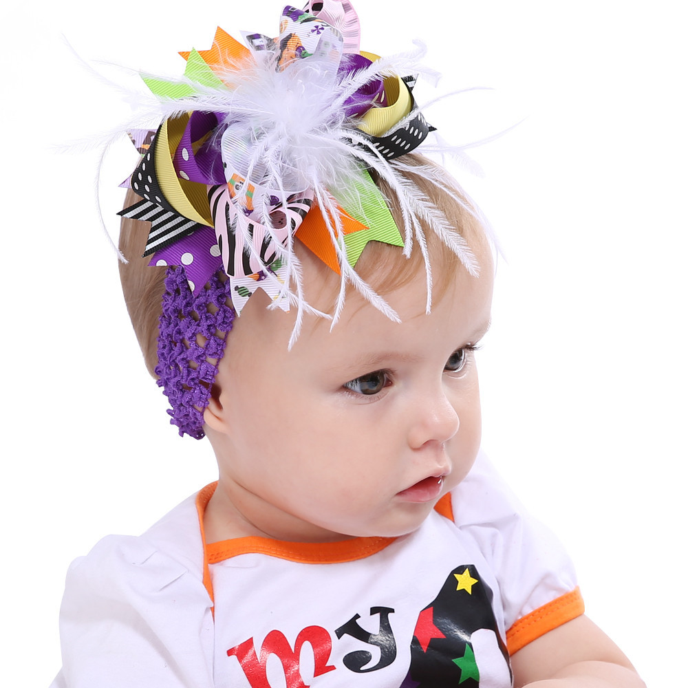 2017 gift Halloween Party Fashion For Kids Toddler Baby Costume For Kids Girls Feather Bowknot Hairpin Headdress ov9