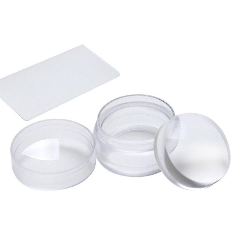2 Unids/set Stamper De Silicona Transparente Grande Con Tapa De Arte De Uñas + Rascador Herramienta De Uñas Fácil De Limpiar