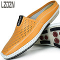 Lazy backless shoes half leather slippers Doug personality summer summer sandals for men in British Baotou