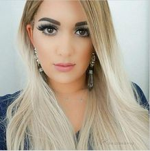 Fashion Natural Ombre Blonde Wig Synthetic Lace Front Wigs Glueless Heat Resistant Hair Long Silk Straight