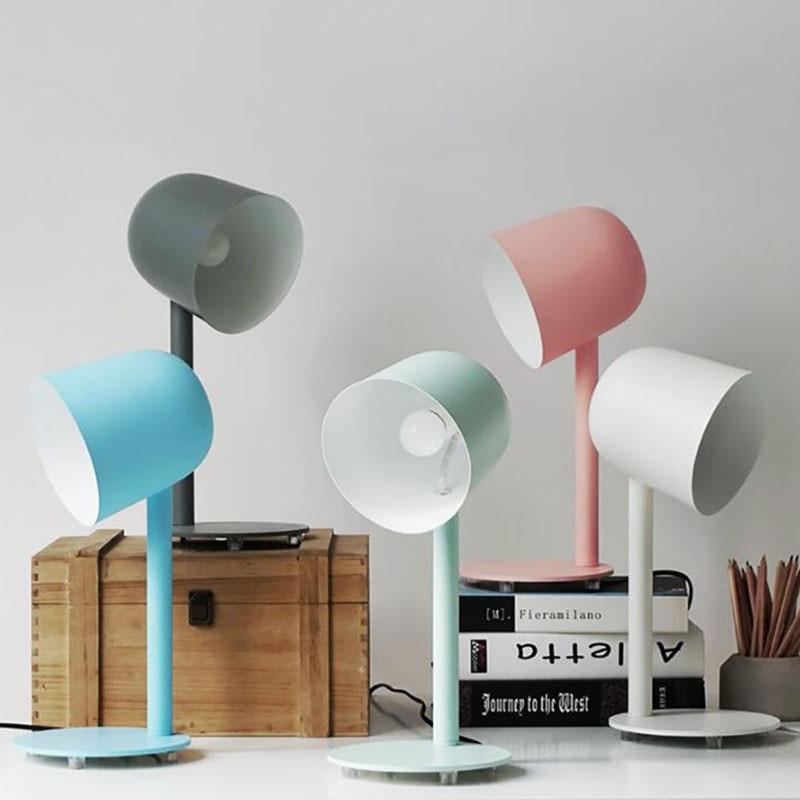 Modern metal table lamp for living room bedroom study office,white/black Children's desk lamp Iron bedside reading lamp