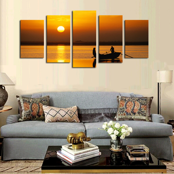 5 Panels (No Frame) Canvas Wall Art Yellow Sunset Seaview Pictures Paint on Canvas Painting for Home Kitchen Decorative no frame canvas