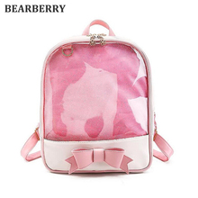 BEARBERRY 2017 new Candy Color travel bags Flower Women Clear Daily Backpack Girls School Bag PVC Transparent Bow Backpack