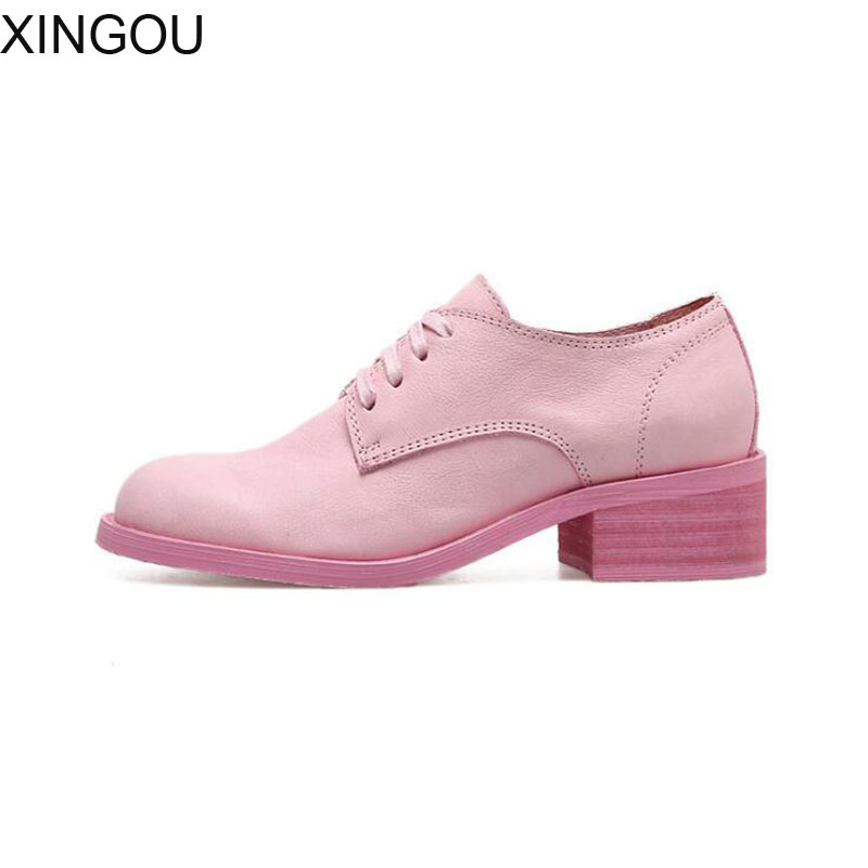 New women shoe Retro fashion leather female pump Lace-Up pumps Casual Round Toe women's shoe with heel four colour to select trendy women s pumps with pure colour and lace up design
