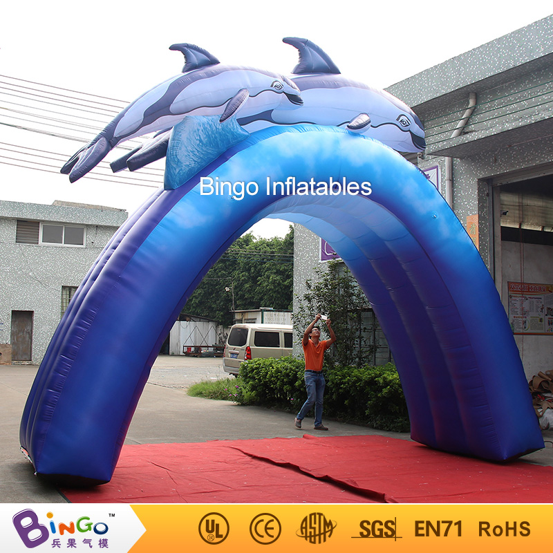 Free shipping Water Park outdoor Arch type inflatable dolphin with free kits toys commercial sea inflatable blue water slide with pool and arch for kids