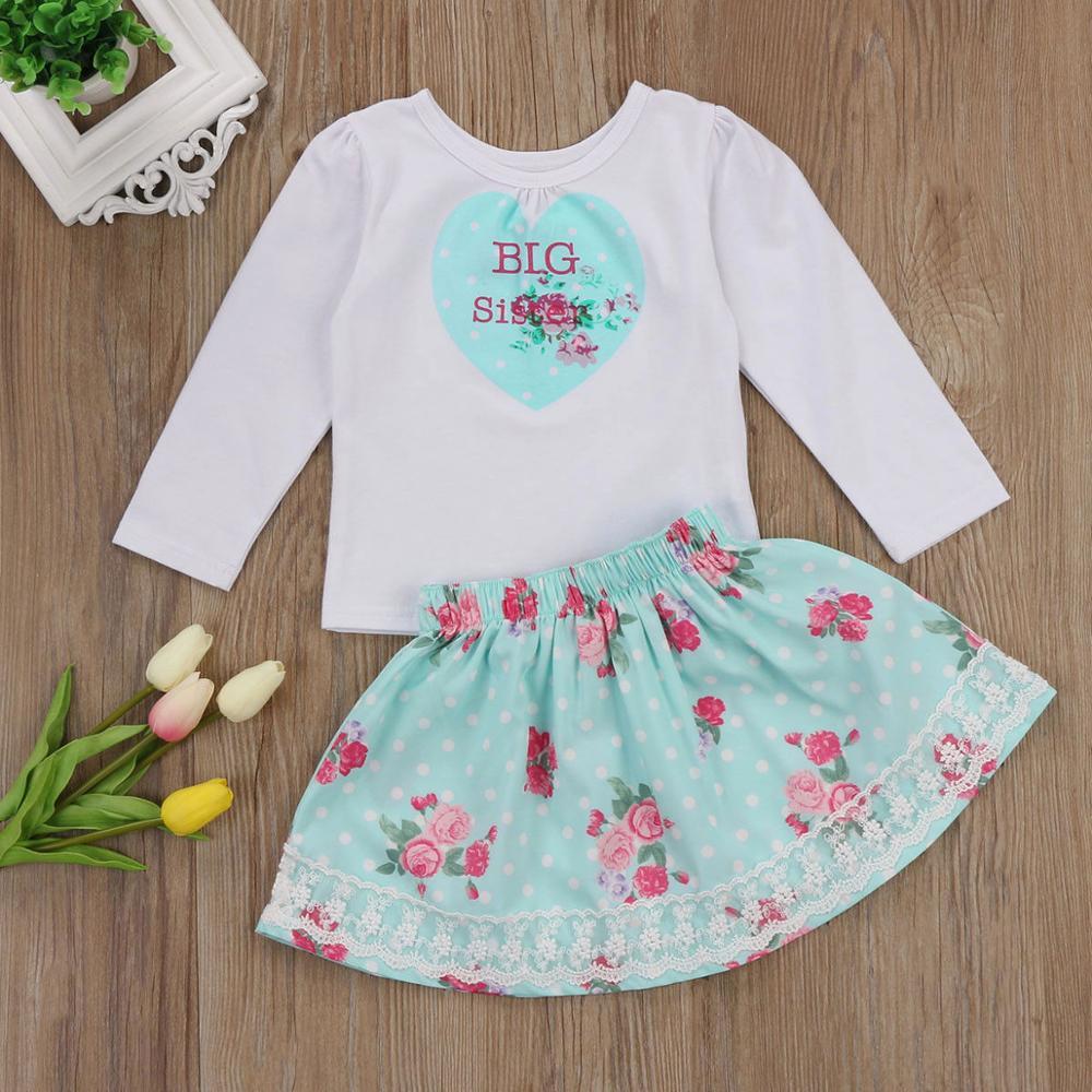 Big//Little Sister Kids Toddler Baby Girls Sister Clothes Jumpsuit Romper Dresses