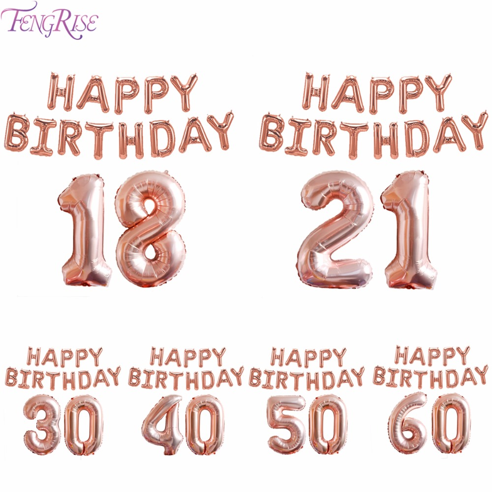FENGRISE 21st 30th 40th 50th Birthday Party Balloons Decorations Adult Rose Gold Champagne Wedding Number Balloon