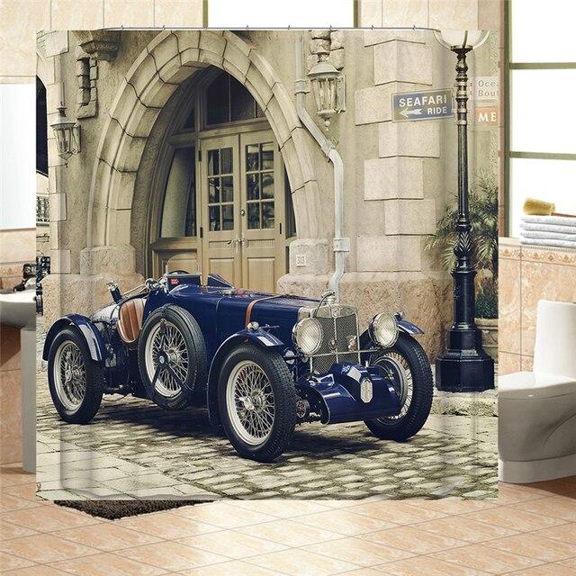 Waterproof Mildewproof Polyester Shower Curtain Retro Classic Cars Pumpkin Car Balloons Businessman Stress Bath Decor