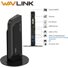 WAVLINK USB3.0 UNIVERSAL DOCKING STATION DUAL DISPLAY VERTICAL STAND SUPPORT DVI/HDMI/VGA GIGABIT ETHERNET FOR LAPTOP/PC/MAC OS