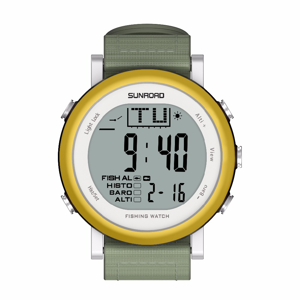 SUNROAD FR721A Men Fishing Sports  Watch - Digital Stopwatch/Altimeter/Barometer/Thermometer  with Nylon Strap Clock (Gold)