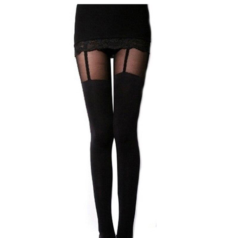 2018 Sexy Women Black Fake Garter Belt Suspender Tights -7655