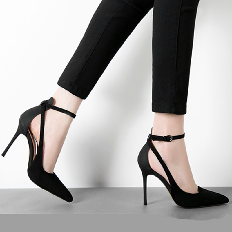 ФОТО Fashion sexy 2015 hot-selling genuine leather pointed toe high-heeled shoes belt women's shoes button thin heels single shoes