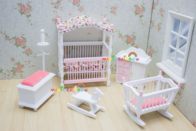 Pink Kids Dolls House Bedroom Furniture Wooden Toys Bed Cradle Rocking  Horse Baby 1 12 Scale