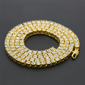 Men's Hip Hop Bling Bling Iced Out Tennis Chain 1 Row Necklaces Luxury Brand 3 Color Men Chain Fashion Jewelry 20''/ 24''/30''(China)