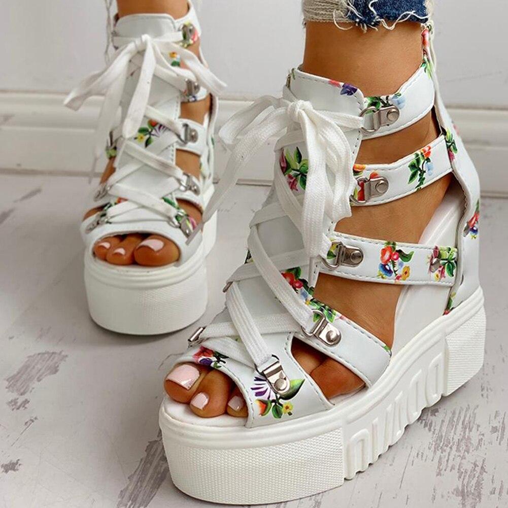 INS Hot Print Leisure Wedges women s Shoes 2019 Summer Shoes women Sandals Platform Shoelaces High INS Hot Print Leisure Wedges women's Shoes 2019 Summer Shoes women Sandals Platform Shoelaces High Heels Casual Shoes Woman
