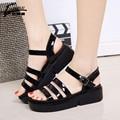 ZUOQL Correa del Tobillo de Moda Plataforma Sandalias de Las Mujeres Sandalias de Las Cuñas de Verano Zapatos de Las Mujeres zapatos de Tacón Alto Negro Blanco zapatos de Playa