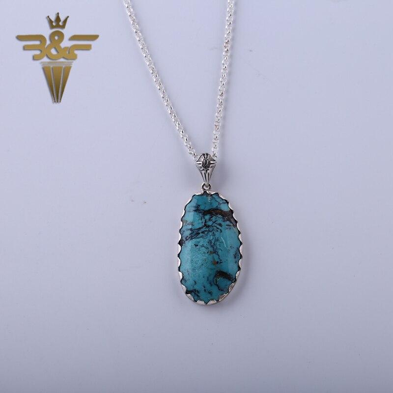 925 pendentif et collier en argent Sterling pierre naturelle Turquoise 39x22x7mm 12.2g charmes pour les femmes cadeau d'anniversaire accessoire