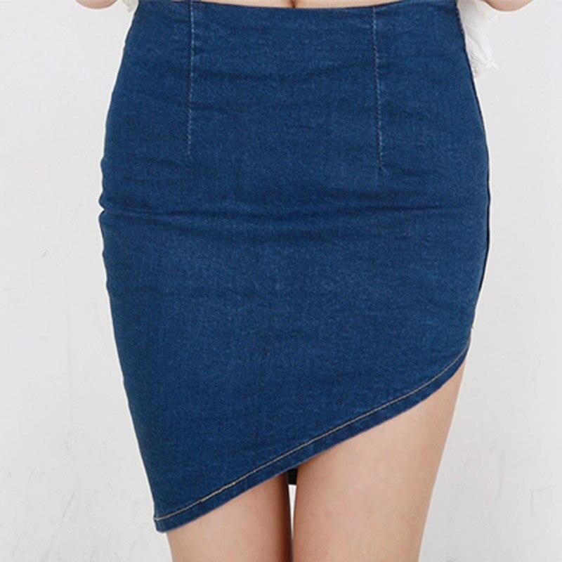 Women Skirt Jeans Single Breasted Jupe Slim Ladies Rokjes Denim Skirts with Double Pocket Split Saias Clothing 9355#