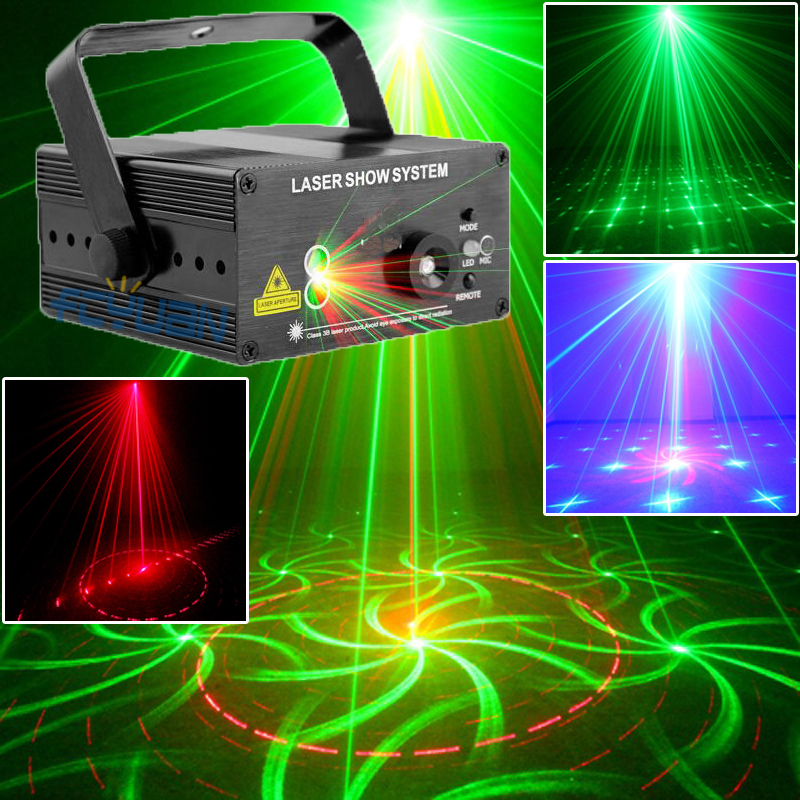 цена на Red Green Laser Light Music Projector Dj Disco Ball Strobe Lights 18 Pattern Color Change for Laser Disco Music Center Equipment