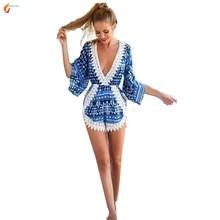 Пляжная одежда модные кружевные шорты с цветочным принтом комбинезоны нерегулярные крючком пикантные белые V шеи комбинезон женские комбинезоны G294 jqnzhnl