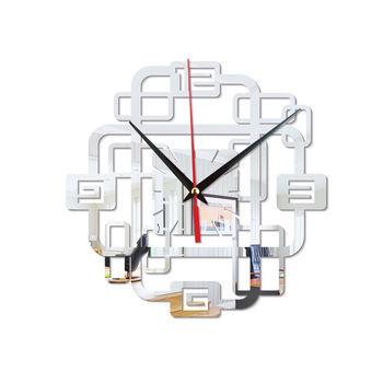 Chinese Special Digital Wall Clock Modern Decorative Creative Silent Mirror Wall Clock 3D Living Room Klok Unique Gifts 50w319