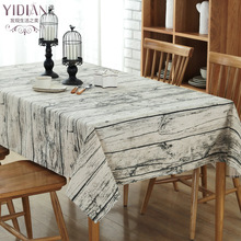 European cotton and linen coffee table wood grain dining table cloth linen tablecloth hotel home conference dining table with adjustable top wood color dropshipping