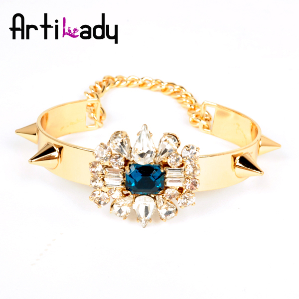 Artilady fashion crystal bangle  spike cuff gold bangle bracelet womens jewelry 2013 new