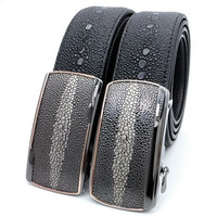 LannyQveen New Model Pearl Fish Grain Men S Automatic Buckle Belt Cow Leather Fashion Belts For